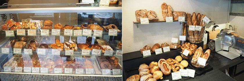 店内には50種以上のパン